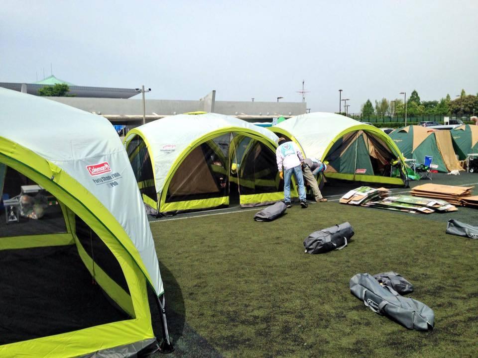 熊本地震支援、テント村にタープを設置しました。