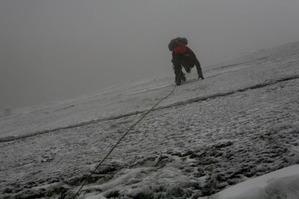ガリンガリンに凍りついた氷河を登る