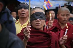 カトマンズでチベット人によるデモ