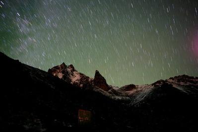ケニア山主峰と星空