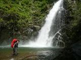 増水し勢いが強い暗門の滝