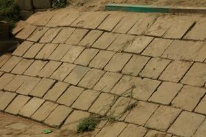 コンクリートブロックが敷かれた河岸